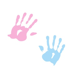 handprint of girl and boy vector image vector image