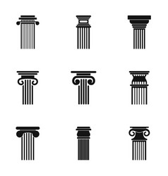 pole icons set simple style vector image