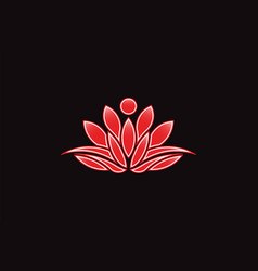red lotus flower logo icon vector image vector image