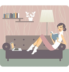 Woman reading book at home vector image vector image