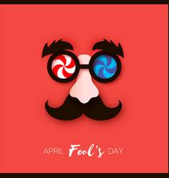 1 april fools day funny crazy mask glasses black vector image
