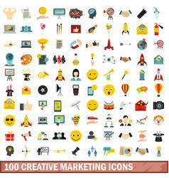 100 creative marketing icons set flat style vector image