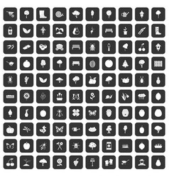 100 gardening icons set black vector