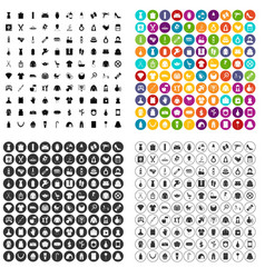 100 woman icons set variant vector