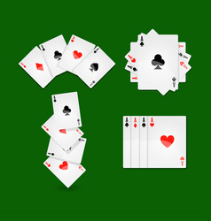 Aces set on green play field at casino vector