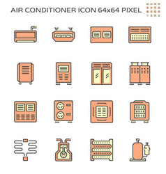 air conditioner and air compressor icon set 64x64 vector image