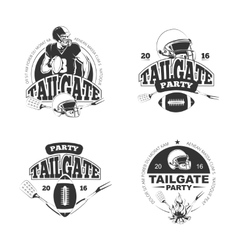 American football tailgate party vintage labels vector