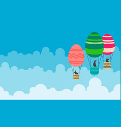art of easter with hot air balloon vector image