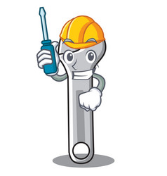 Automotive wrench character cartoon style vector