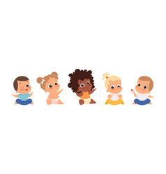 Baby group multiethnic babies sitting isolated vector
