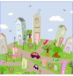background summer city with cars on the vector image
