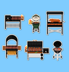 barbecue grill with food isolated labels set vector image