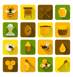Bee Honey Icons Flat vector
