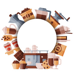 big set coffee equipment round banner with vector image