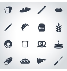 black bakery icon set vector image