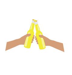 Bottle of bear yellow in hands vector