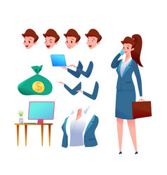 business woman animation set office worker vector image