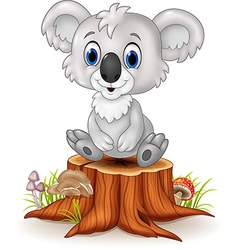 Cartoon adorable koala sitting on tree stump vector