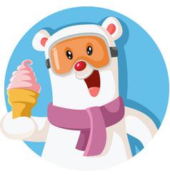 Cartoon polar bear holding delicious ice cream vector