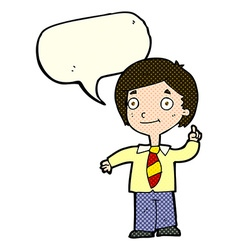 Cartoon school boy answering question with speech vector