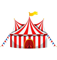 Circus tent in red and white striped vector image