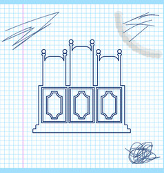 Courts room with table line sketch icon isolated vector