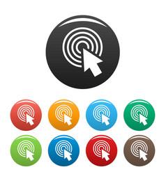 cursor click round icons set color vector image