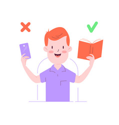 cute boy with the book and phone in hands vector image