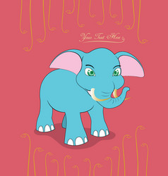 Cute card with cute elephant vector