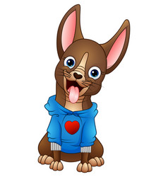 cute cartoon dog wear a jacket vector image