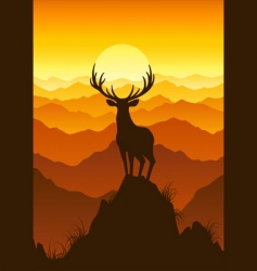 Deer at sunset vector