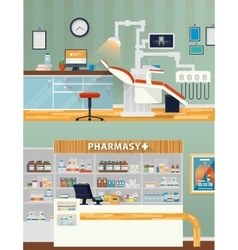 Dental room and pharmacy shop or store vector