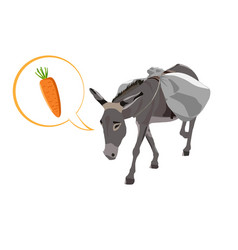 Donkey carries a heavy load a big bag and speech vector
