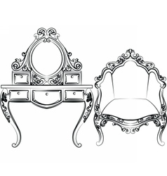 Dressing table and armchair set vector