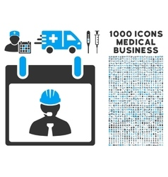 Engineer Calendar Page Icon With 1000 Medical vector image