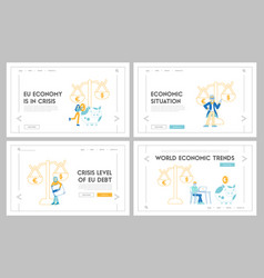 Euro vs dollar landing page template set vector