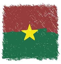 Flag of Burkina Faso handmade square shape vector image