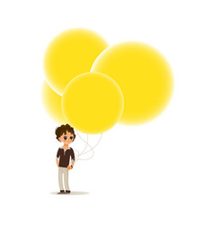flat boy child air balloon funny hat vector image