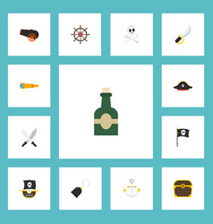 Flat icons chest sword pirate and other vector