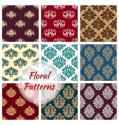 Floral ornament patterns of flowery tracery vector