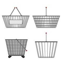 Four realistic metallic chrome wire empty baskets vector