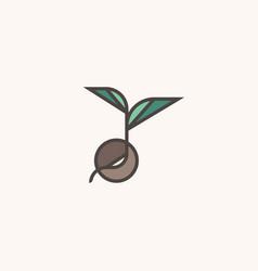 fresh organic sprout modern line logo mark vector image