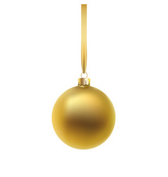 gold christmas ball isolated on white background vector image