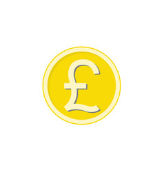 Gold pound sterling coin flat icon finance vector
