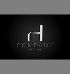 H black white silver letter logo design icon vector