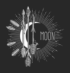Hand drawn crescent moon with arrows drawn vector