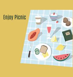hand drawn picnic background invitation vector image