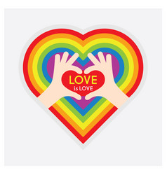 hands showing heart symbol hands and love is love vector image