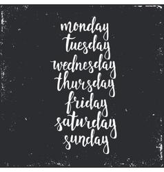 Handwritten days week monday tuesday vector