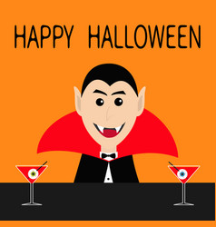 Happy halloween count dracula head face wearing vector
